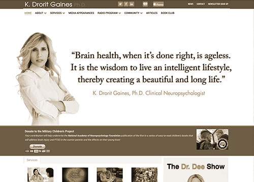 Dr. Dee Gaines website homepage.