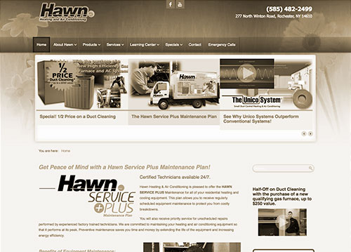 Hawn Heating website homepage.