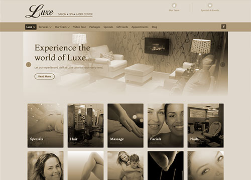 Luxe Spa website homepage.