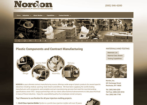 Nordon Plastics website homepage